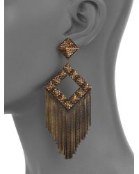 Joanna Laura Constantine | Brown Pavé Pyramid Stud Fringe Earrings | Lyst