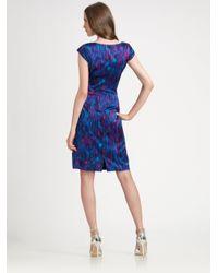 Kay Unger Blue Cap Sleeve Surplice Neck Dress