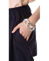 Kenneth Jay Lane   Metallic Large Flat Link Bracelet   Lyst