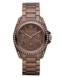 Michael Kors | Brown Mini-size Blair Multi-function Glitz Watch, Espresso | Lyst