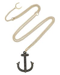 Philip Crangi Metallic Alber Anchor 14karat Gold and Blackened Steel Necklace