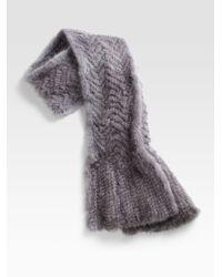 Pologeorgis | Blue Knitted Mink Chervon Scarf/brightener-added | Lyst
