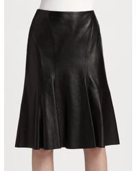 Ralph Lauren Black Label | Black Evali Leather Skirt | Lyst