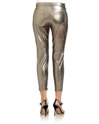Robert Rodriguez Zipdetail Metallic Leather Cropped Pants
