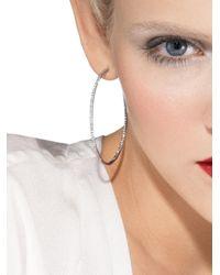 Roberto Coin - White Gold Diamond Hoop Earrings - Lyst