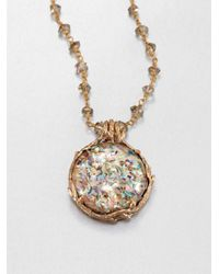Stephen Dweck Metallic Abalone Rock Crystal Smoky Topaz Pendant Necklace