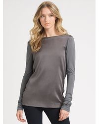 Theory Gray Luxe Knit Drape Top
