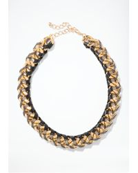 Bebe - Metallic Leather Wrapped Chainlink Necklace - Lyst