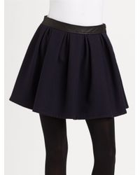 Burberry Brit | Blue Leather Accented Pleated Mini Skirt | Lyst