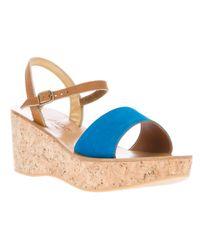 K. Jacques Blue Josy Wedge Sandal