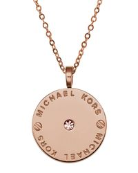 Michael Kors | Metallic Logo Disc Necklace | Lyst