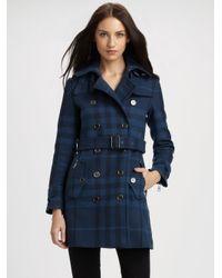 Burberry Brit | Blue Plaid Wool-blend Coat | Lyst