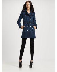 Burberry Brit - Blue Plaid Wool-blend Coat - Lyst