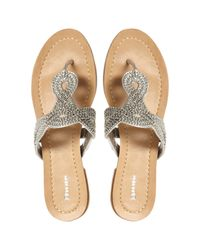 Dune Metallic Jenna Bead and Chain Embelished Satin Sandals