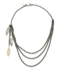 Elizabeth and James | Metallic Feather Three Strand Chain Necklace | Lyst