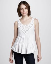 Free People White Dorothy Babydoll Top