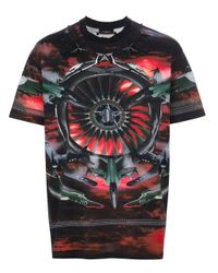 Givenchy Red Fighter Jet Printed Tshirt for men