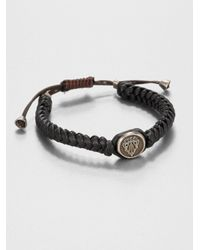 Gucci | Brown Woven Leather Bracelet for Men | Lyst