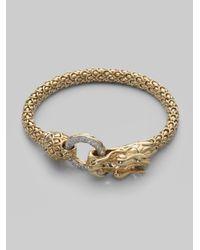 John Hardy Metallic Diamond & 18k Gold Dragon Bracelet