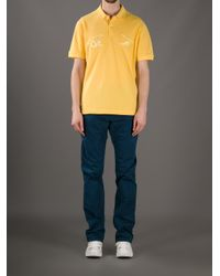 Lacoste L!ive Yellow Crocodile Versus Tiger Polo Shirt for men