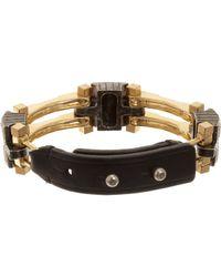 Lanvin Metallic Dedale Leather and Strass Crystal Bracelet