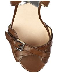 MICHAEL Michael Kors | Brown Fallyn Leather Wedge Sandals | Lyst