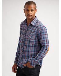 Scotch & Soda | Purple Plaid Flannel Shirt for Men | Lyst