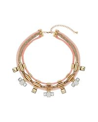 TOPSHOP | Pink Cord and Stone Collar | Lyst