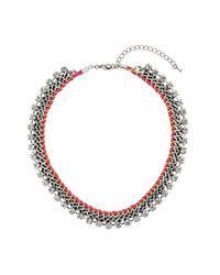 TOPSHOP - Metallic Rhinestone and Chain Collar - Lyst