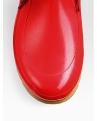 HUNTER Red Rubber Laceup Rain Boots