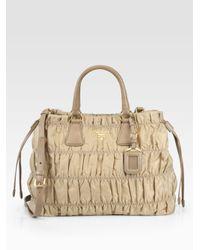 6c0d41fd41c0 Prada Tessuto Gaufre Tote Bag in Natural - Lyst