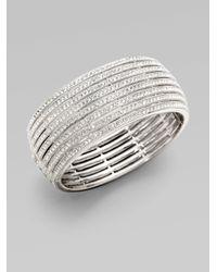 Adriana Orsini | Metallic Eight-row Crystal Encrusted Bangle Bracelet | Lyst