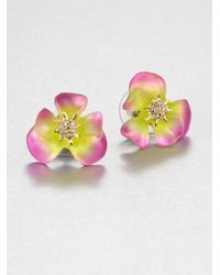 Alexis Bittar Multicolor Lucite and Crystal Pansy Earrings
