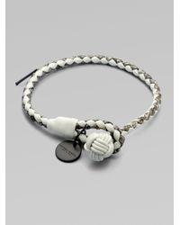 Bottega Veneta Metallic Intrecciato Mixed Leather Wrap Bracelet
