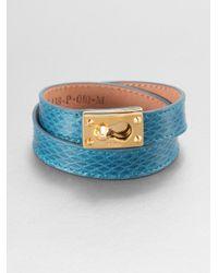 Fendi | Blue Double Wrap Leather Bracelet | Lyst