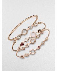 Ippolita Metallic Rose Double Tiara Clear Quartz Bangle Bracelet