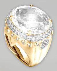John Hardy | Metallic Batu Bamboo 18k White Topaz Oval Ring | Lyst