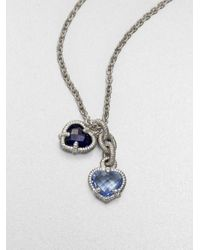 Judith Ripka | La Petite Blue Quartz, Corundum & Sterling Silver Twin Heart Pendant Necklace | Lyst