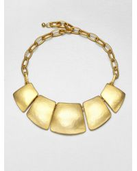 Kenneth Jay Lane | Metallic Geometric Bib Necklace | Lyst