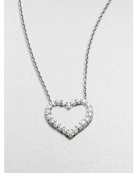 Roberto Coin | Metallic Tiny Treasures Diamond & 18k White Gold Open Heart Necklace | Lyst