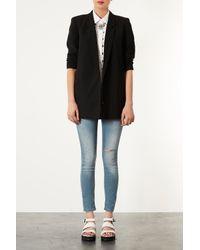TOPSHOP - Black Tailored Longline Blazer - Lyst