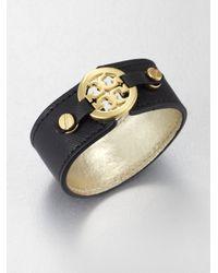 Tory Burch - Black Logo Skinny Double Snap Cuff Bracelet - Lyst