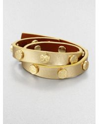 Tory Burch | Logo-studded Metallic Leather Double-wrap Bracelet | Lyst
