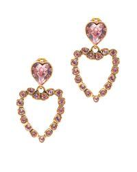 Oscar de la Renta - Pink Swarovski Heart Clip Earrings - Lyst