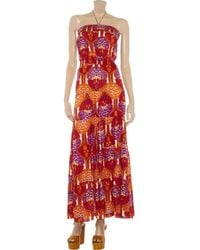 T-bags Red Strapless Printed Jersey Maxi Dress