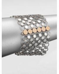 John Hardy | Metallic Sterling Silver & 18K Yellow Gold Wide Dot Bracelet | Lyst