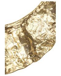 Kenneth Jay Lane Metallic Hammered Goldplated Bib Necklace