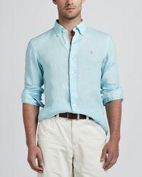 Polo Ralph Lauren Linen Sport Shirt Light Blue for men