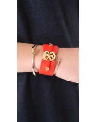 Tory Burch | Orange Skinny Double Snap Bracelet | Lyst