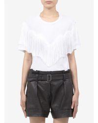 Acne Studios White Oversized Fringed T-shirt